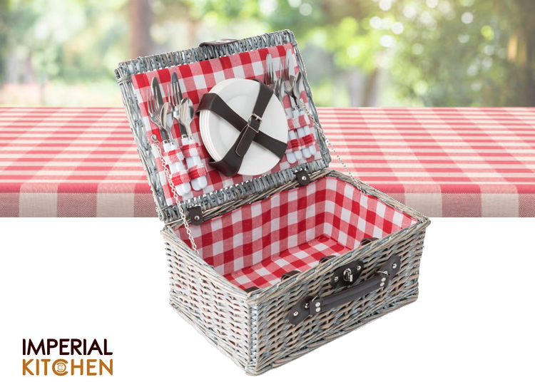Imperial Kitchen Picknickmand - 4 persoons - 40 x 28 x 18 cm - Rode ruit