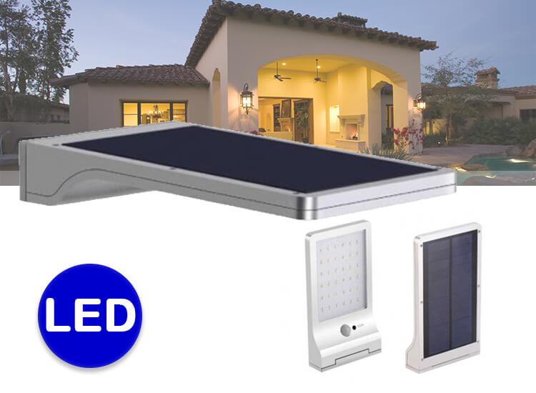 Ultra platte led solar buitenverlichting - Draadloos en met bewegingsmelder