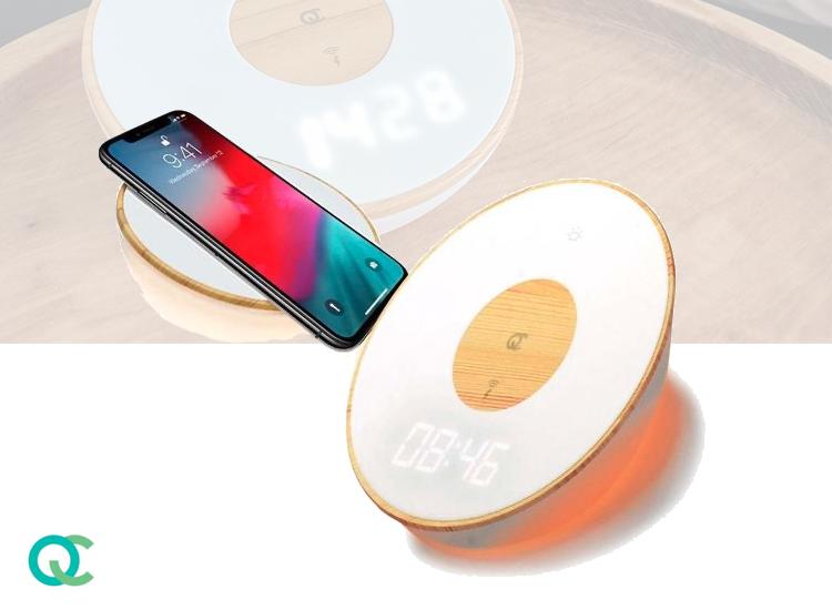 FlinQ Draadloze QI Telefoonlader - Lamp, Oplader en Wekker - 3 Lichtstanden - 10 Watt - Wit