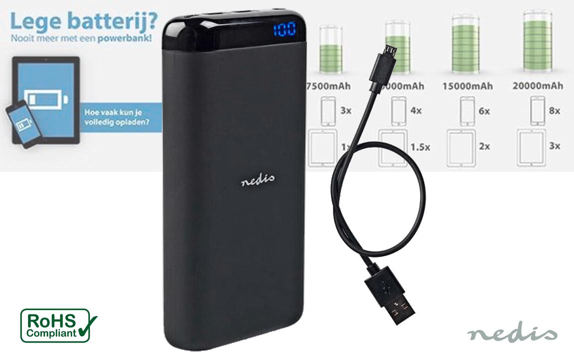 Nedis Premium Powerbank met 2 USB-A poorten (max. 2,1A) - 15.000 mAh - zwart