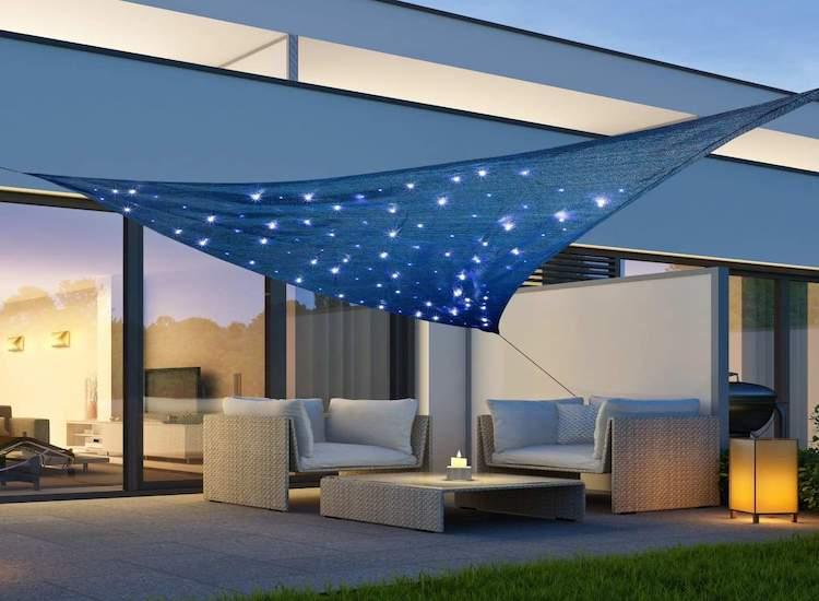 Zonnedoek met 100 LED's - Blauw - 3,6 x 3,6 x 3,6M