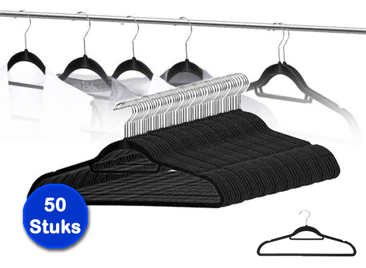 Stevige suede kledinghangers 50 stuks - Zwarte kleerhangers
