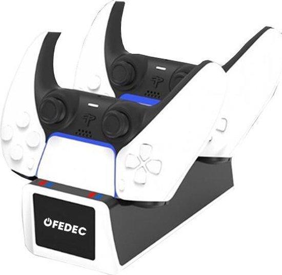 DealDonkey-Fedec Playstation 5 Controller Dockingstation - Oplaadstation - Ruimte voor 2 controllers - Inclusief kabel - Zwart-aanbieding
