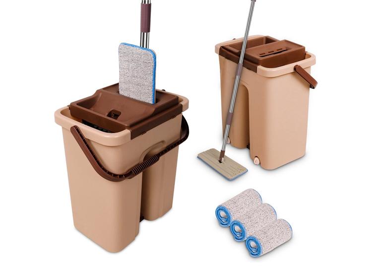 Cenocco CC-9070 vlakke mop - Inclusief emmer - Bruin
