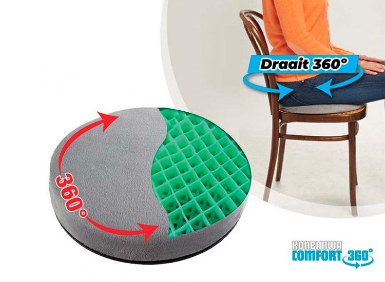 Konbanwa Comfort 360 Cushion - Draaibaar ergonomisch gelkussen voor rug- en beenklachten