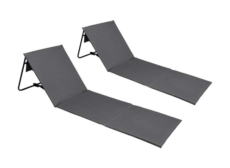 Intimo Lig-/Strandmatten Grijs - strandmat met rugsteun - 2 stuks
