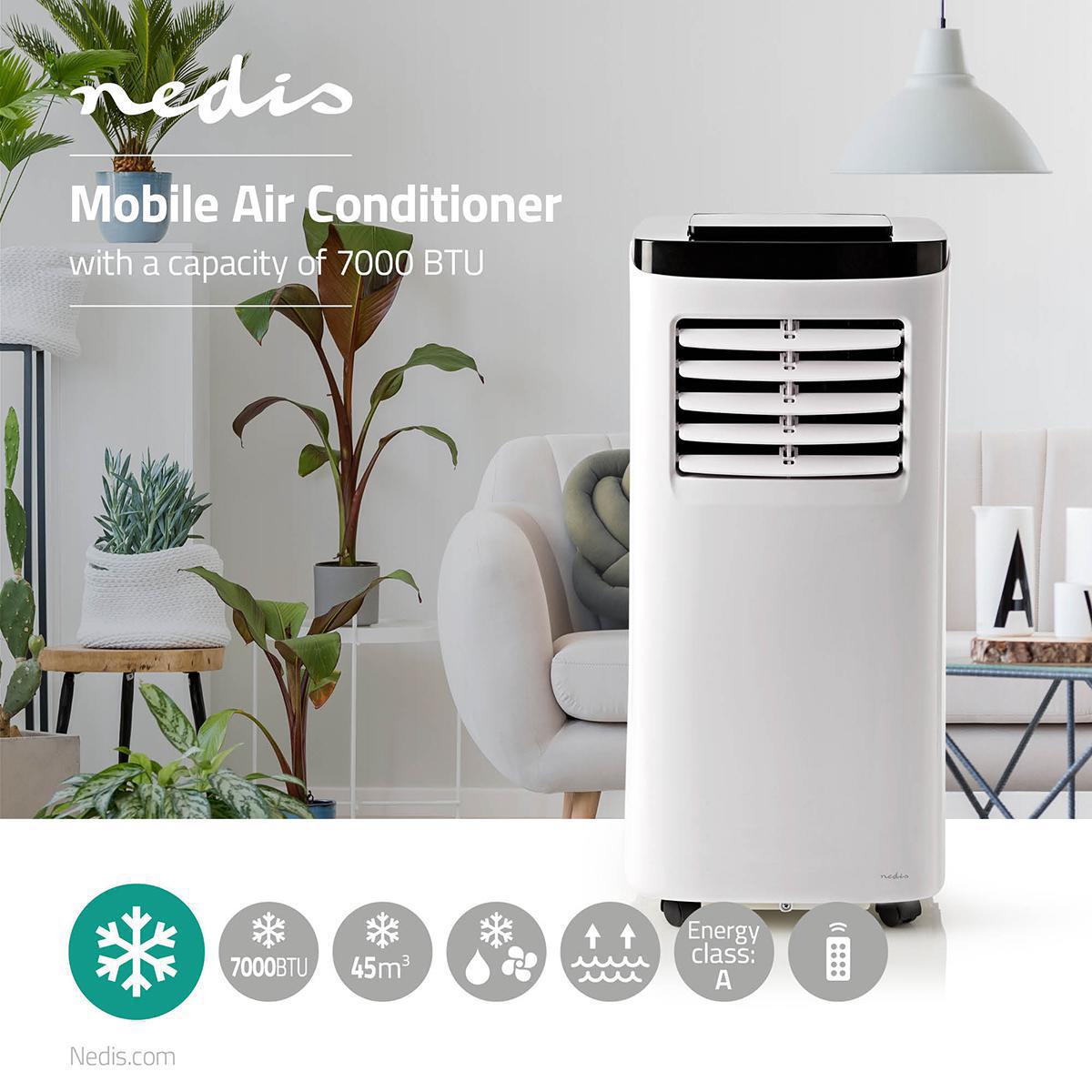 Nedis Mobiele airconditioning - Airco - 7000 BTU - Energieklasse A - Afstandsbediening - Timerfuncti