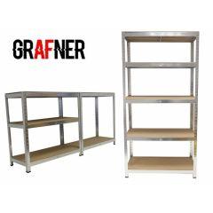 Grafner industriële stellingkast - Van gegalvaniseerd metaal en MDF