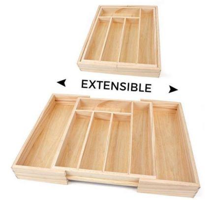 Privilege Verstelbare houten bestekbak 30 tot 46 x 43 x 5 cm