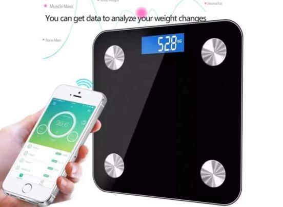 Déluxa Slimme Weegschaal - Opslag voor 7 personen - Meet 8 lichaamgegevens - BMI - Vet - Spieren - Zwart of Wit