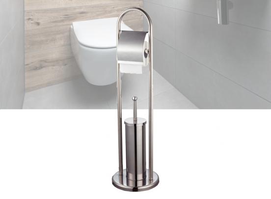 Toiletrolhouder & Toiletborstel met Houder   RVS   20Øx78cm   Toiletbutler   Toiletstandaard