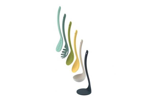 Joseph Joseph Nest Utensils Plus Keukenhulpen - Incl. Houder - Magnetisch - Nylon - Set van 5 Stuks - Opal