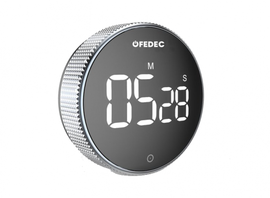 Fedec Digitale Kookwekker - Timer - Magnetisch - LED Display - Handige Draaiknop - Zwart