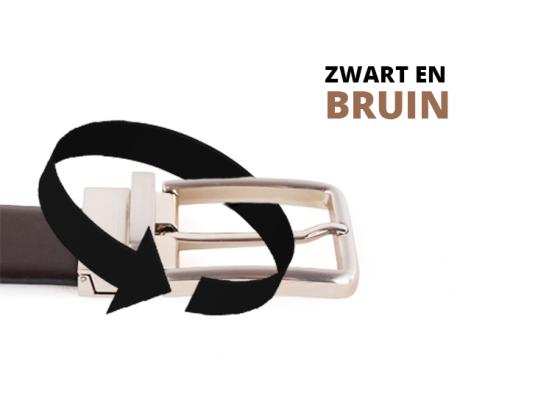 Lederen Herenriem - Draaibare Gesp - Bruin & Zwart - 135cm