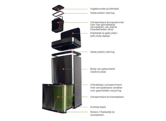 FlinQ RVS Prullenbak met Sensor - 72L - Afvalscheider - Contactloze Afvalbak