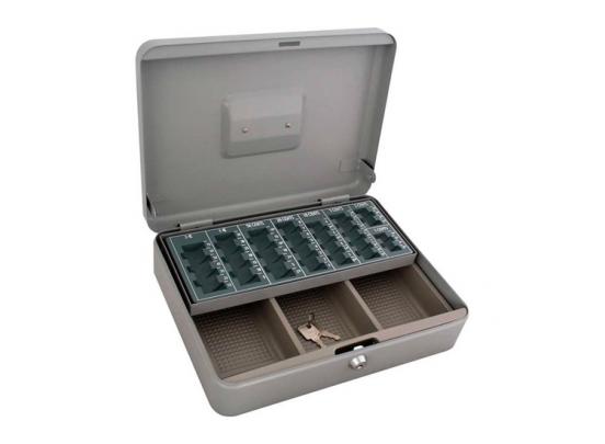 Metalen Geldkist 30 x 24 x 9 cm met euromuntsorteerplaat