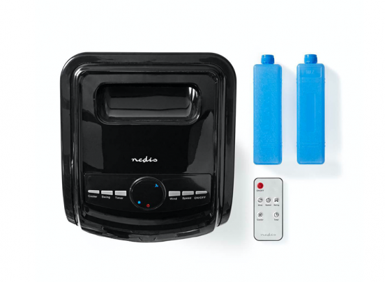 Nedis Mobiele Aircooler   Watertankcapaciteit: 3 l   3 Snelheden   270 m³/h   Zwenkfunctie   Afstandsbediening   Zwart