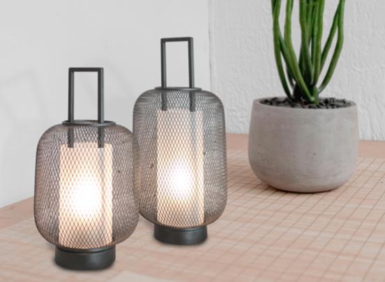FlinQ LED lantaarn - set van groot en klein - zwart - stijlvol