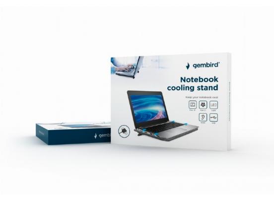 Gembird Laptopstandaard -  Met Koeling - Zwart