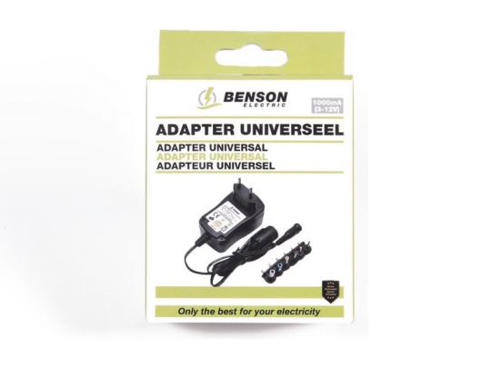 Hofftech Adapter Universeel - 1000 mA 3V t/m 12V