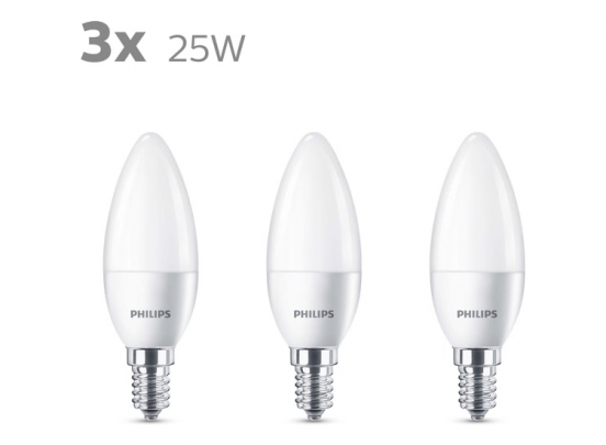 Philips LED Kaars - E14 Mat - 25W - Warm Wit Licht - 3 stuks