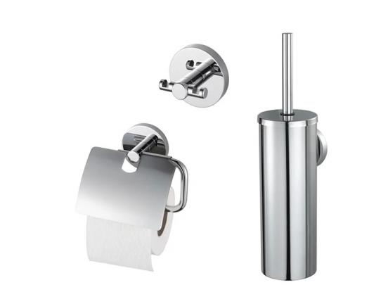 Haceka Aqualux 2000 Toiletaccessoireset - Toiletrolhouder, Toiletborstel en dubbele handdoekhaak