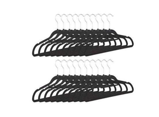 Kledinghangerset 16 stuks - Non slip kledinghangers - Fluweel zwart