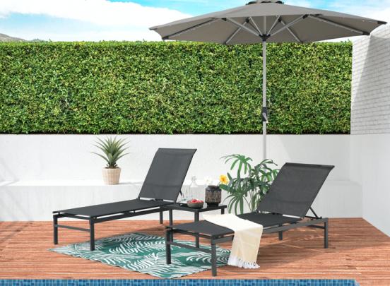 Intimo Garden Ligbeddenset - 3-delig - Verstelbaar - Zwart