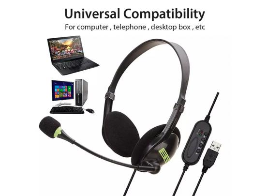 Fedec Computer Headset - Verstelbare Microfoon - Noise cancelling - Plug&Play USB Kabel - Zwart