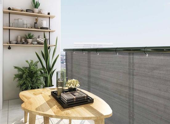909 Outdoor Balkonscherm - Grijs - 500 x 90 cm