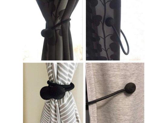 Magnetische Gordijnenhouder - Set van 2 - 40 cm - Zwart of Beige