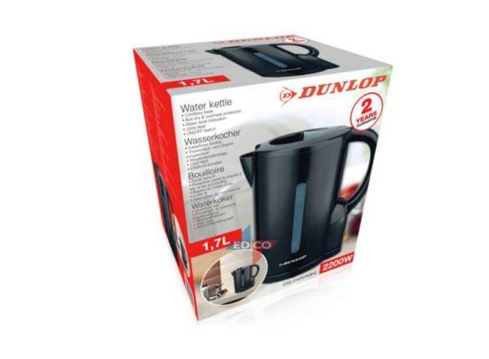 Dunlop zwarte waterkoker - 2200W - Met snoerloze voet