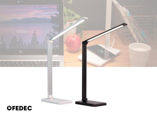 Fedec Bureaulamp - LED - Met 5 dimstanden - Draadloze oplader - Wit of Zwart