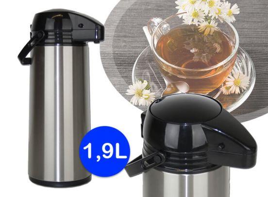 Thermoskan met pomp - 1,9 Liter Isoleerkan - RVS