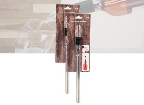 Set van 2 Wijnkoeler Sticks - Met Schenktuit - RVS