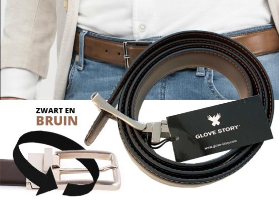 Lederen Herenriem - Draaibare Gesp - Bruin of Zwart - 135cm