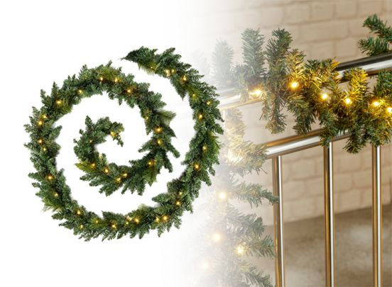 Kerstslinger met verlichting - 270 cm