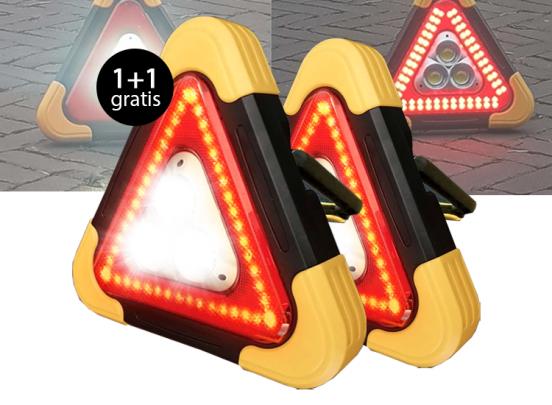 Oplaadbare LED Gevarendriehoek - Met Rood Waarschuwingslicht 1+1 gratis