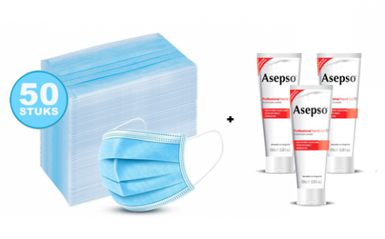 50 Blauwe Mondkapjes + 3 Tubes Asepso handgel