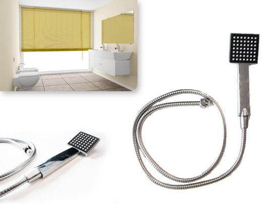 Bath & Shower doucheset - Vierkante douchekop met flexibele rvs slang