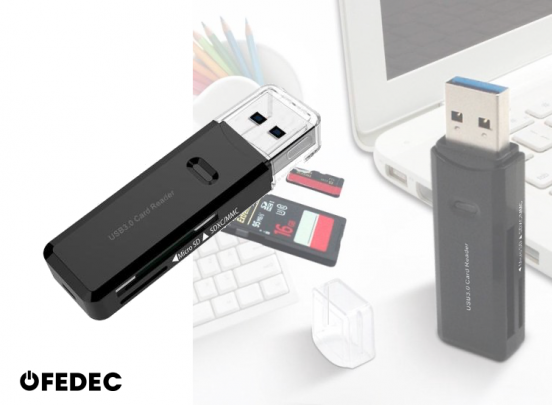 Fedec USB 3.0 Multi Card Reader - Plug & Play - Voor Micro SD / SD / MMC / TF Kaart Lezer - Zwart