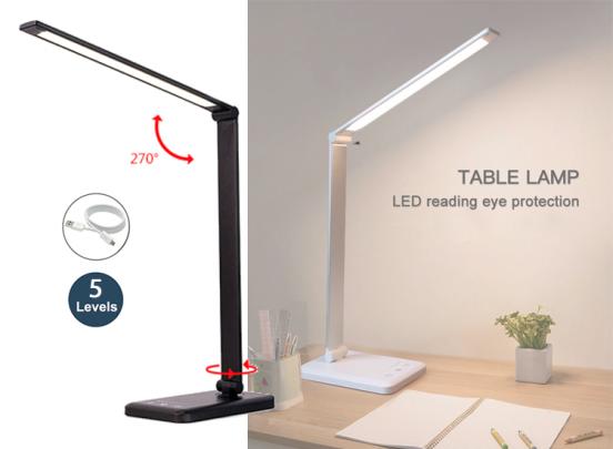 Fedec Bureaulamp - LED - Met 5 dimstanden - Wit of Zwart