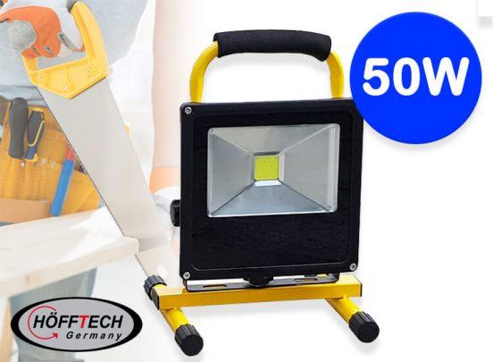Höfftech oplaadbare led-bouwlamp 50 W - Sterke bouwlamp die ook werkt zonder snoer