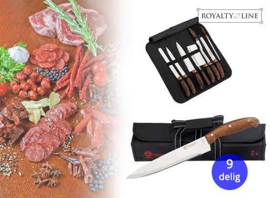 ROYALTY LINE RL-K9C; KNIFE SET MET DRAAGTAS (9 STUKS)
