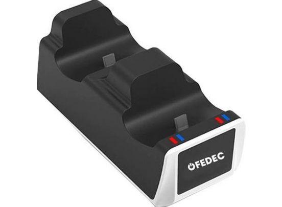Fedec Playstation 5 Controller Dockingstation - Oplaadstation - Ruimte voor 2 controllers - Inclusief kabel - Zwart