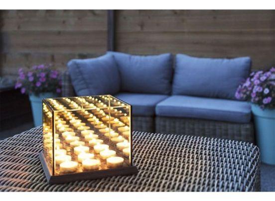 Waxinelichthouder - Infinity Effect – voor 9 theelichtjes - 20x20x16,5 cm