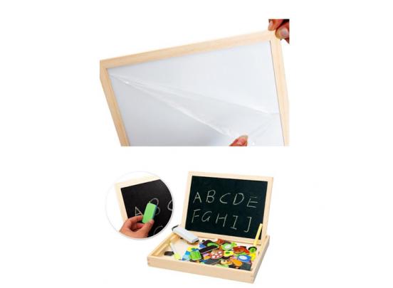 Magnetische Dieren Puzzel & Krijtbord - Alles in 1 Houten Speelbox - Multifunctioneel - 100 stukken