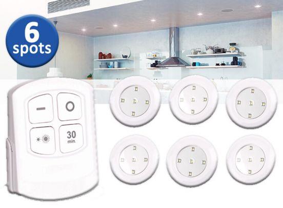 Deluxa LED Spots met Afstandsbediening - 6 spots