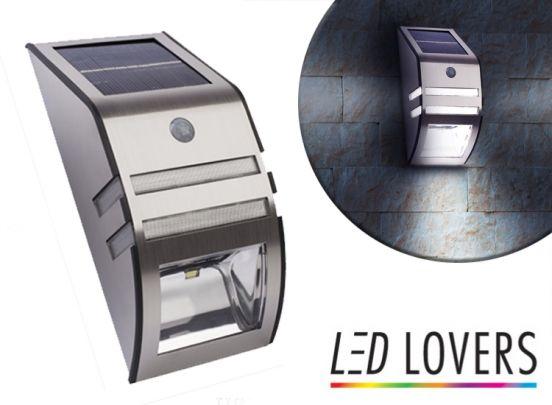 LED Lovers Solar LED Muurlamp Met Nacht- en Bewegingsensor
