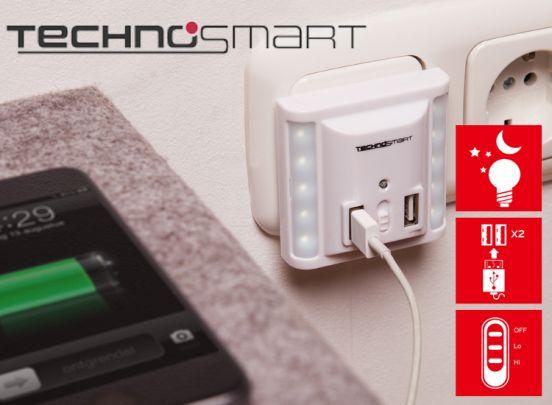 Technosmart Wandlader Met 2 USB Poorten En LED Verlichting